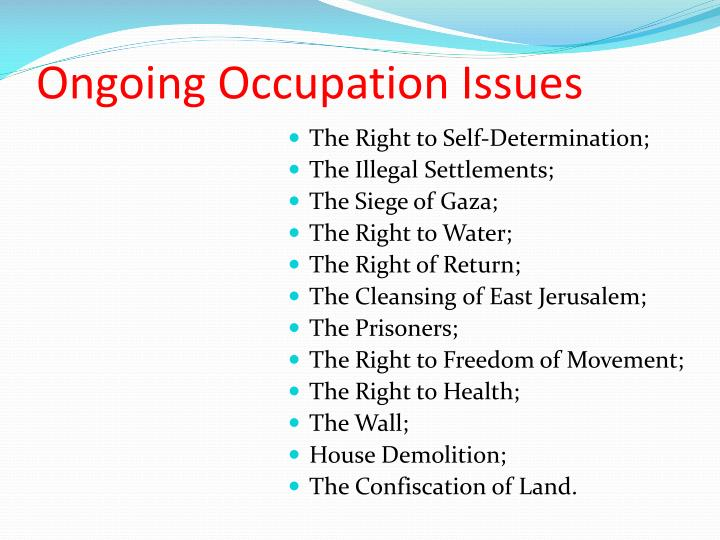 Ongoing Occupation Issues