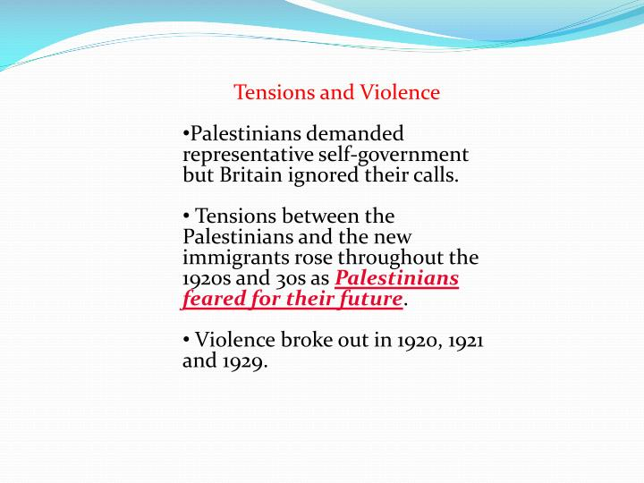 Tensions and Violence