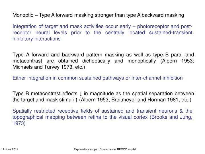 Monoptic – Type A forward masking stronger than type A backward masking