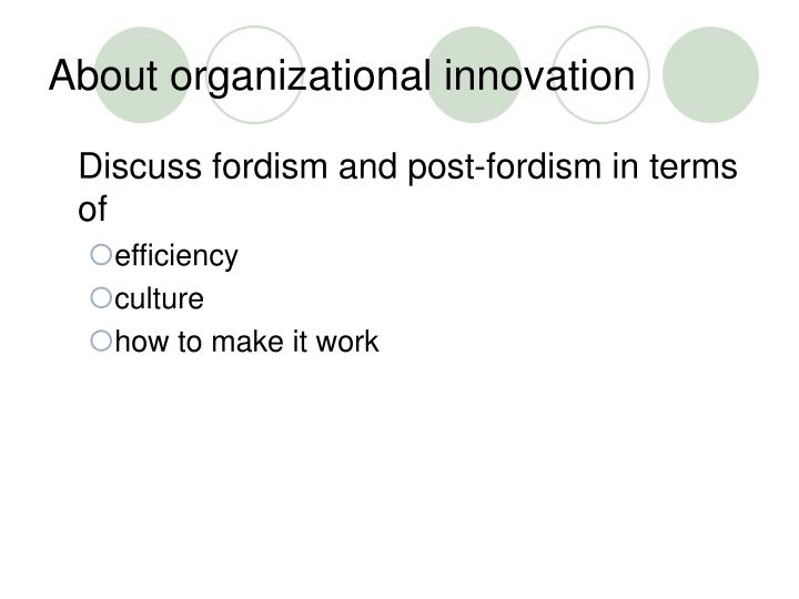 About organizational innovation