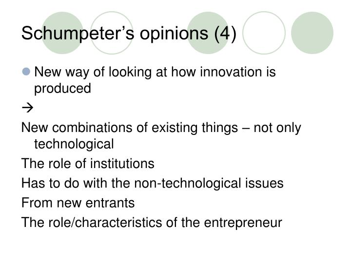 Schumpeter's opinions (4)