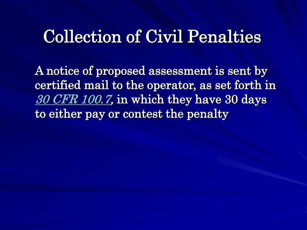 Collection of Civil Penalties