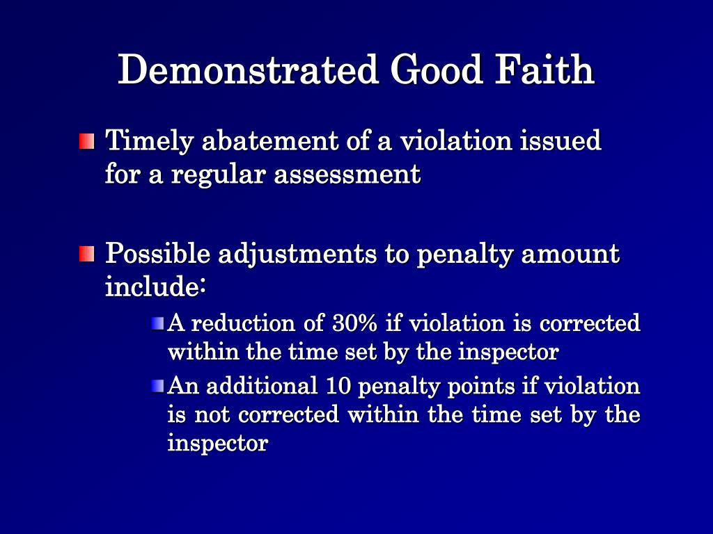 Demonstrated Good Faith