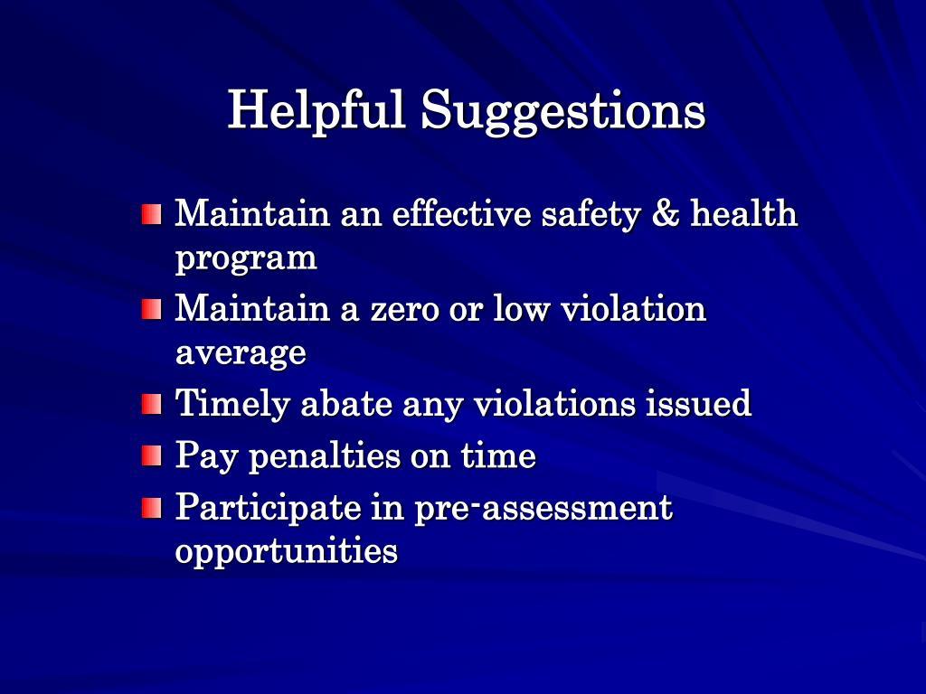 Helpful Suggestions