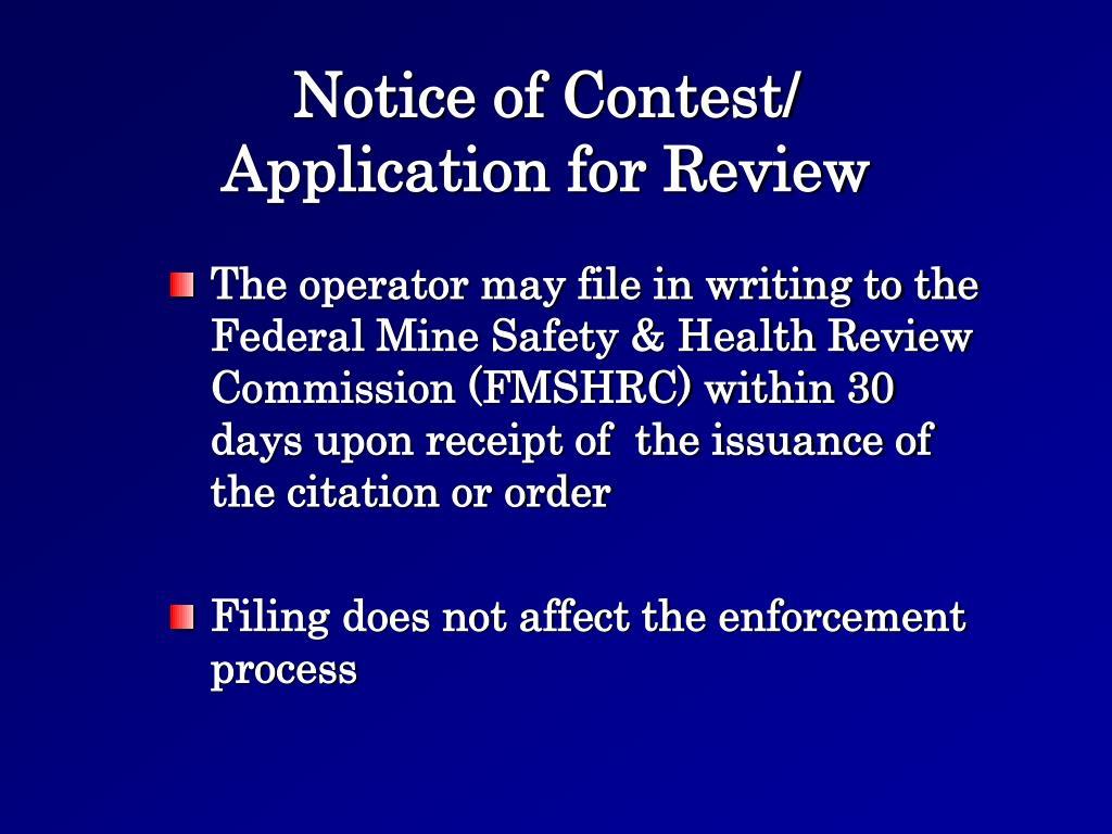Notice of Contest/