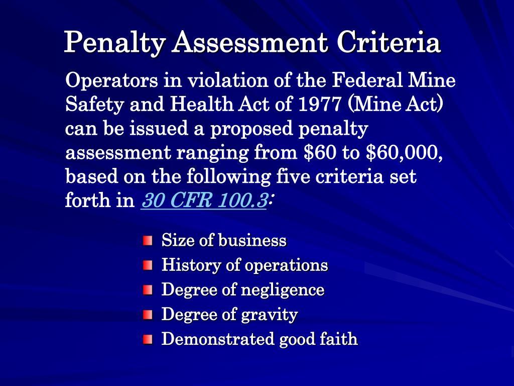 Penalty Assessment Criteria