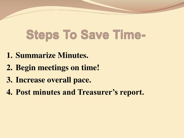 Steps To Save Time-