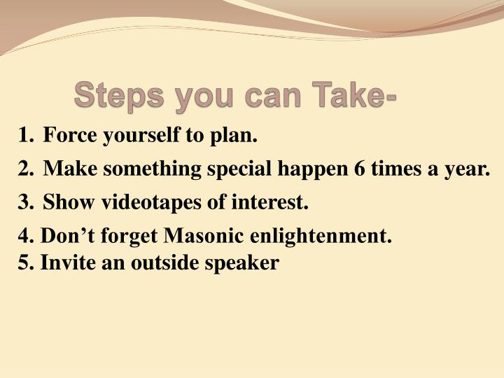 Steps you can Take-