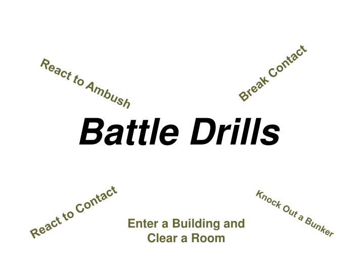 battle drills Battle drills are fundamental combat skills in which all soldiers - regardless of rank, component, or military occupational specialty -- must maintain proficiency to fight and win on the battlefield.