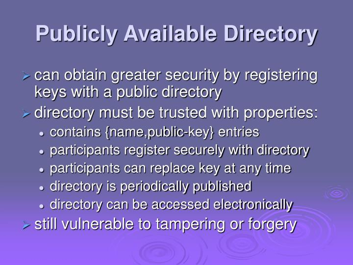 Publicly Available Directory