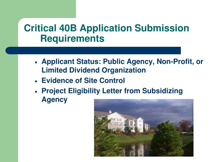 Critical 40B Application Submission Requirements
