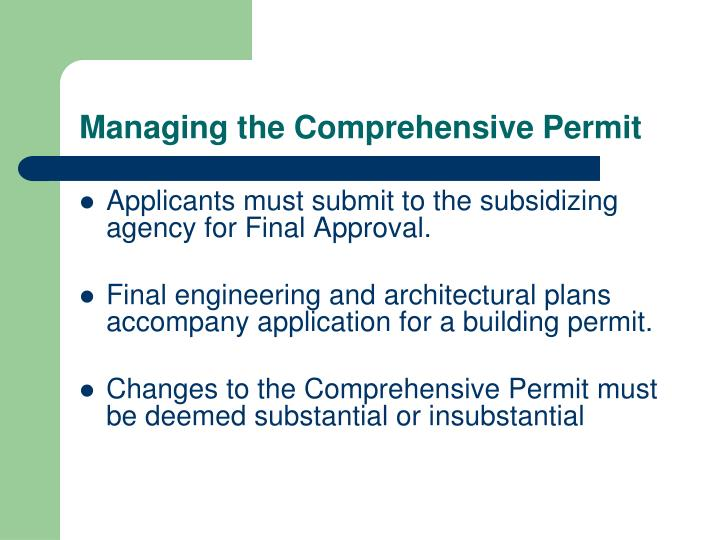 Managing the Comprehensive Permit