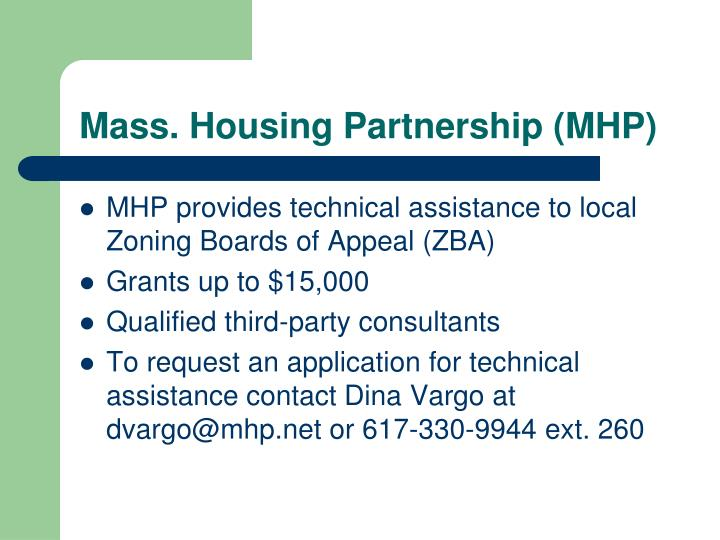 Mass. Housing Partnership (MHP)