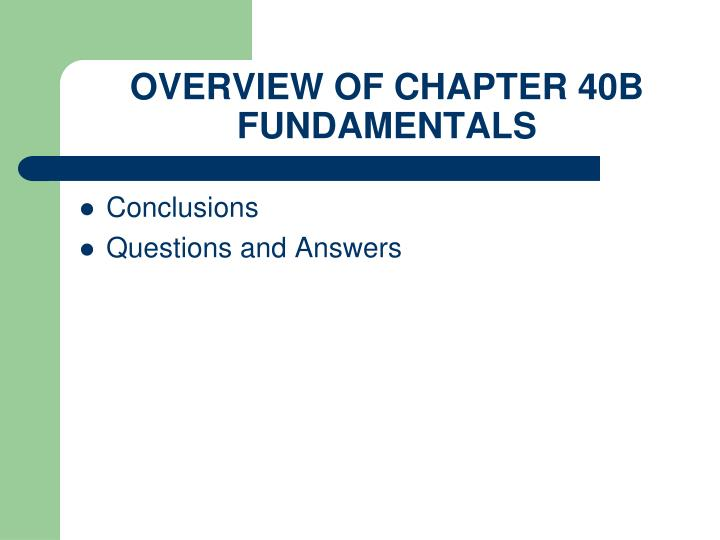 OVERVIEW OF CHAPTER 40B FUNDAMENTALS