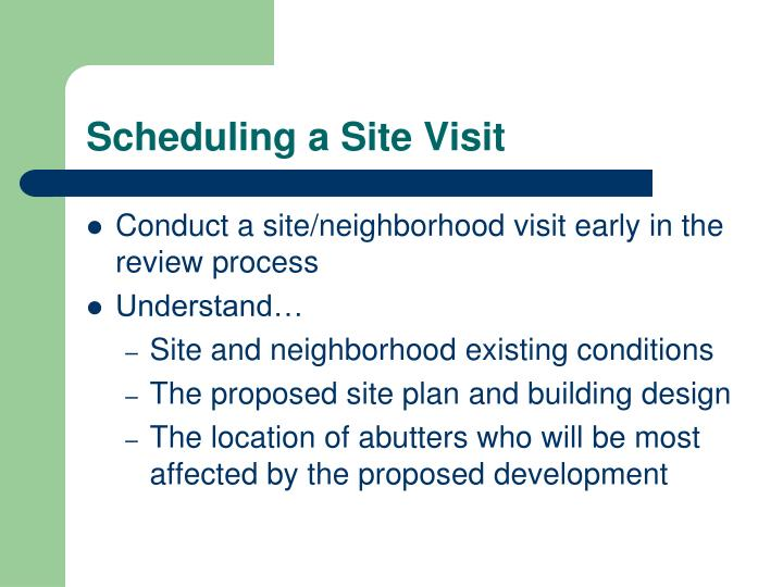 Scheduling a Site Visit