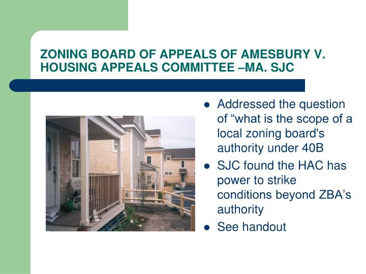ZONING BOARD OF APPEALS OF AMESBURY V. HOUSING APPEALS COMMITTEE –MA. SJC