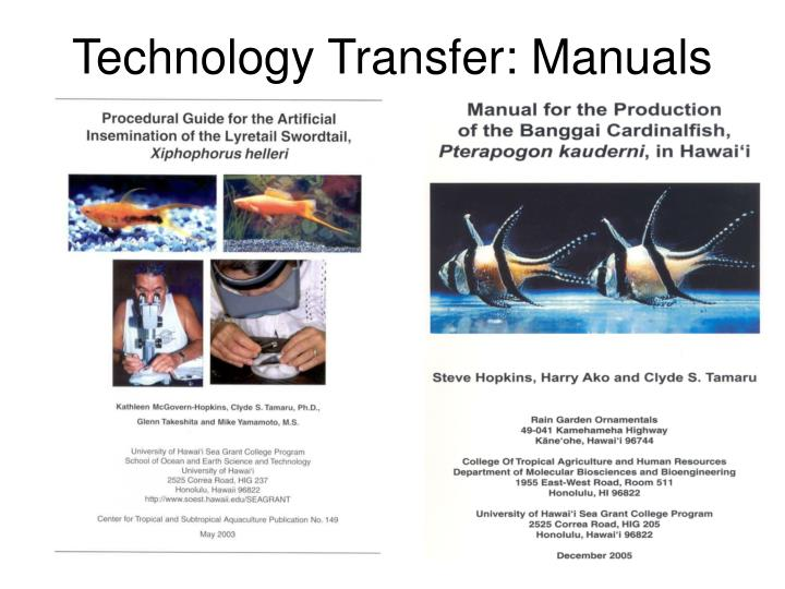 Technology Transfer: Manuals