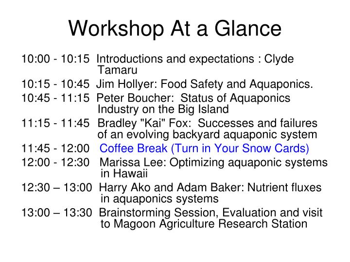 Workshop At a Glance