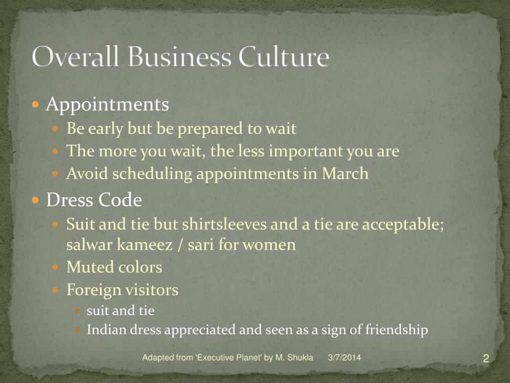 Overall Business Culture
