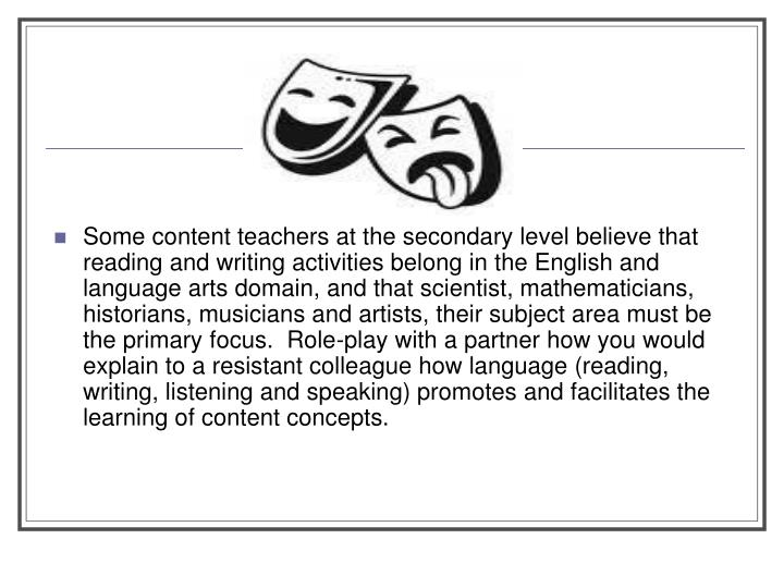 All About Speaking And Listening In Content Area Learning Reading