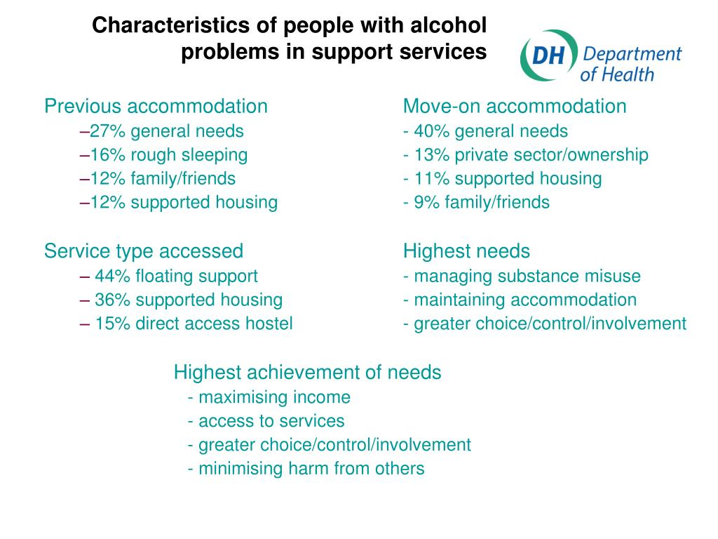 Characteristics of people with alcohol problems in support services