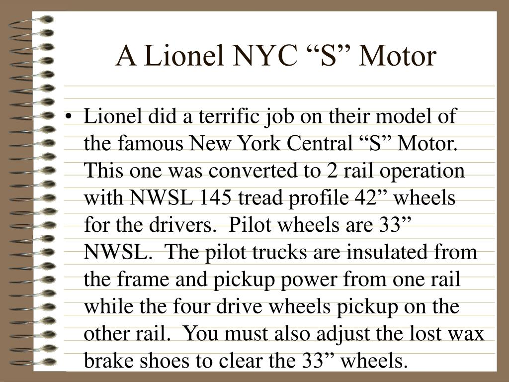 "A Lionel NYC ""S"" Motor"