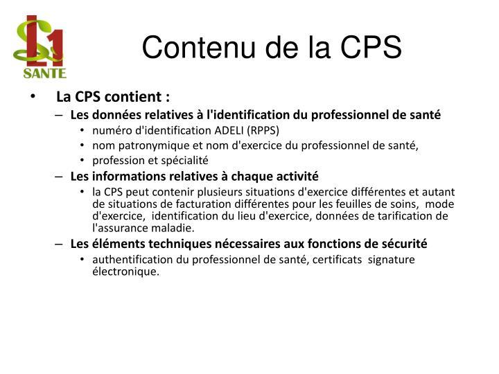 Contenu de la CPS