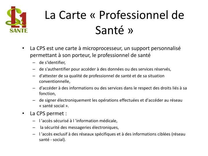 La Carte «Professionnel de Santé»