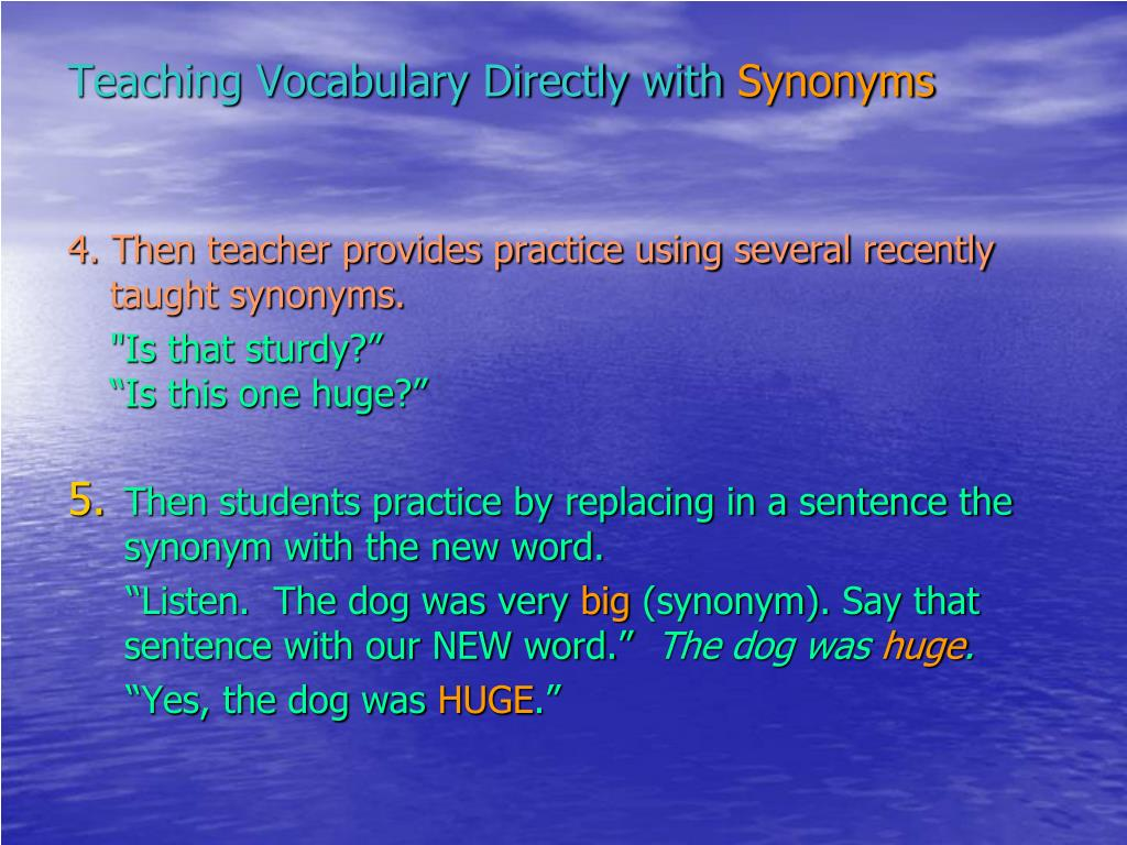 Teaching Vocabulary Directly with