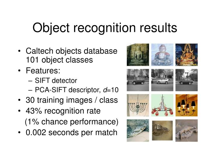 Object recognition results