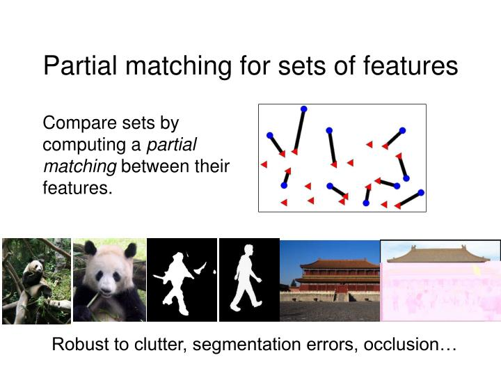 Partial matching for sets of features