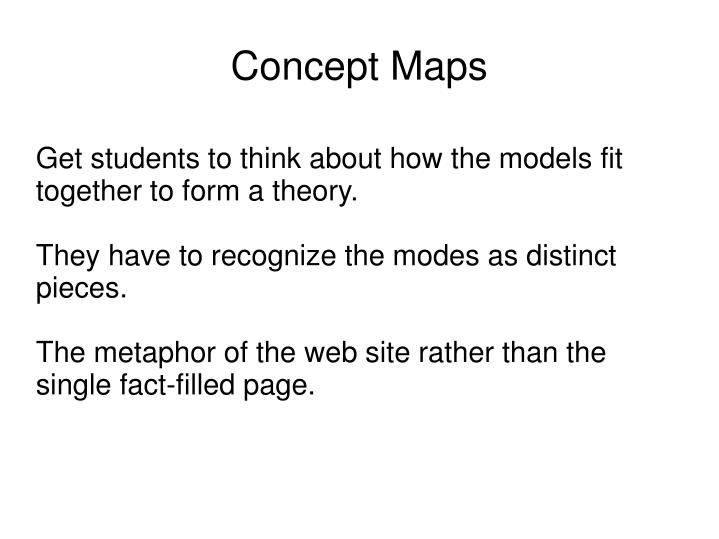 Get students to think about how the models fit together to form a theory.