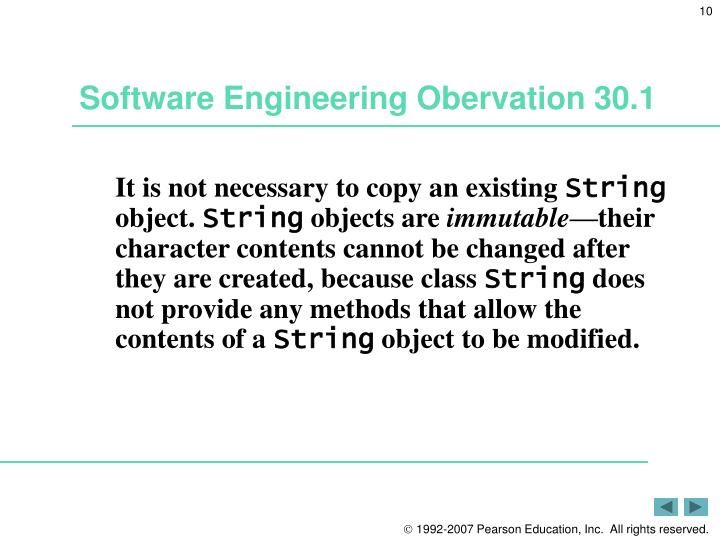 Software Engineering Obervation 30.1