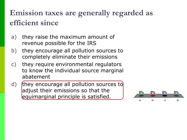 Emission taxes are generally regarded as efficient since