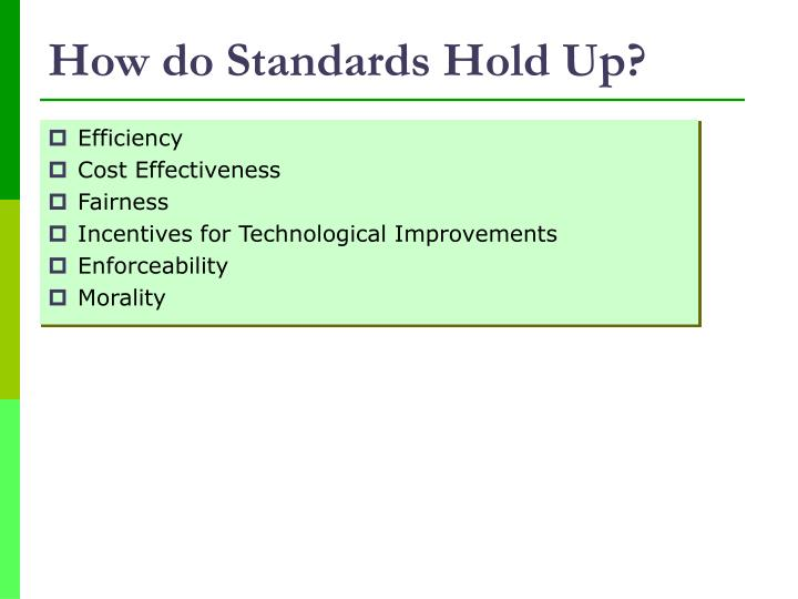 How do Standards Hold Up?