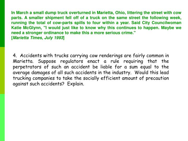"""In March a small dump truck overturned in Marietta, Ohio, littering the street with cow parts. A smaller shipment fell off of a truck on the same street the following week, running the total of cow-parts spills to four within a year. Said City Councilwoman Katie McGlynn, """"I would just like to know why this continues to happen. Maybe we need a stronger ordinance to make this a more serious crime."""""""