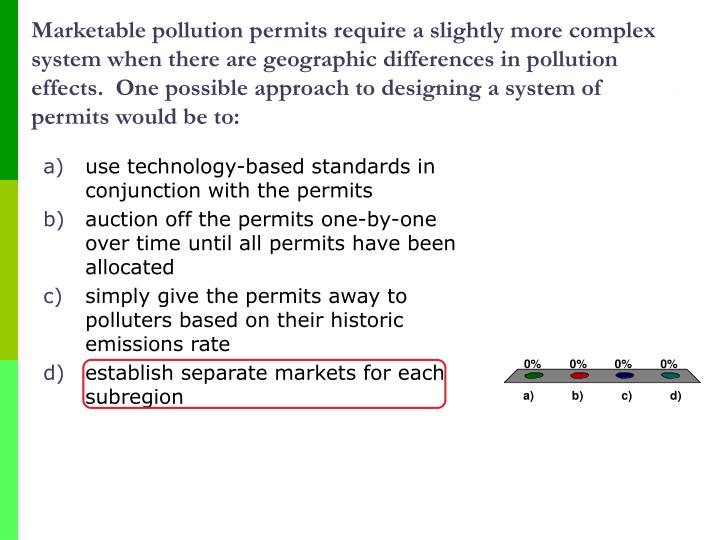 Marketable pollution permits require a slightly more complex system when there are geographic differences in pollution effects.  One possible approach to designing a system of permits would be to: