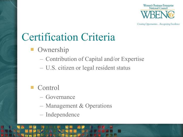 Certification Criteria