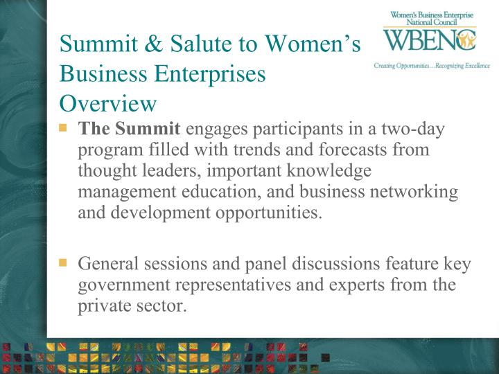 Summit & Salute to Women's Business Enterprises Overview