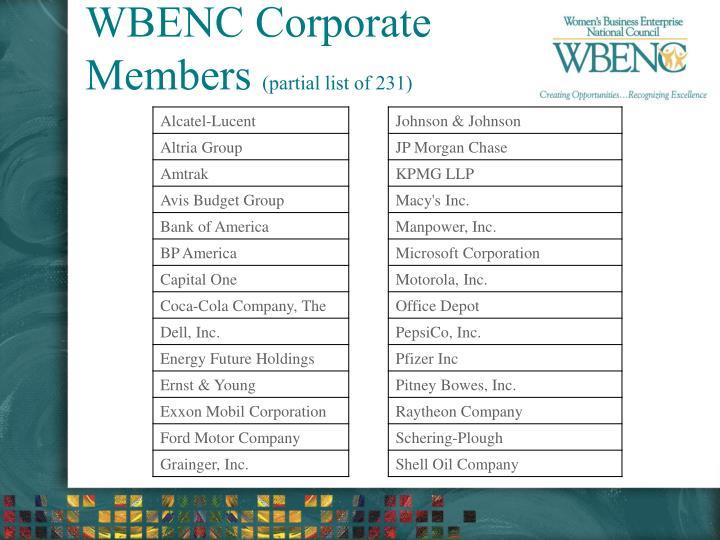 WBENC Corporate Members
