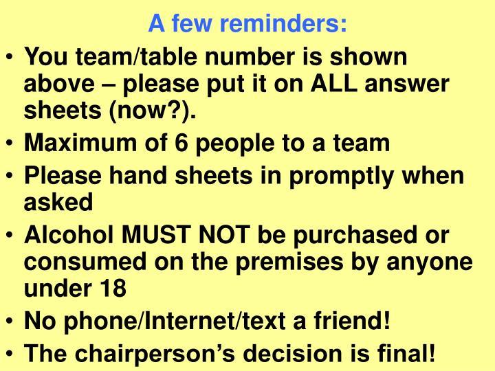 A few reminders: