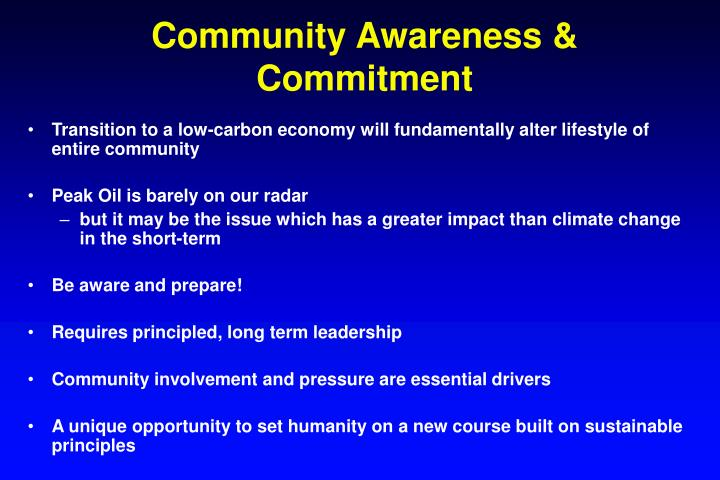 Community Awareness & Commitment