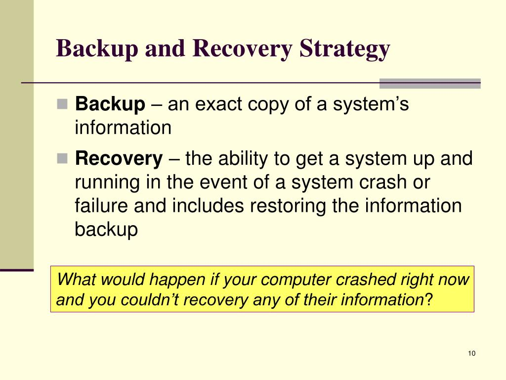 Backup and Recovery Strategy