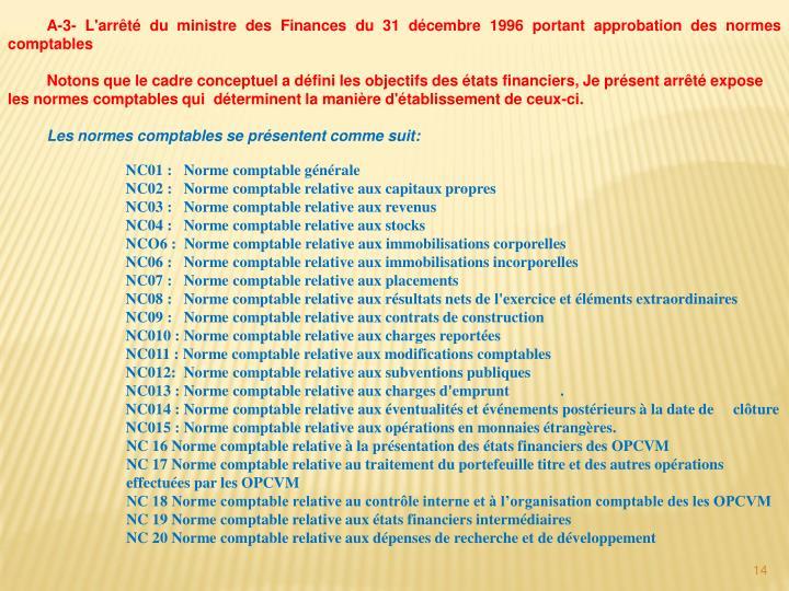A-3- L'arrêté du ministre des Finances du 31 décembre 1996 portant approbation des normes comptables