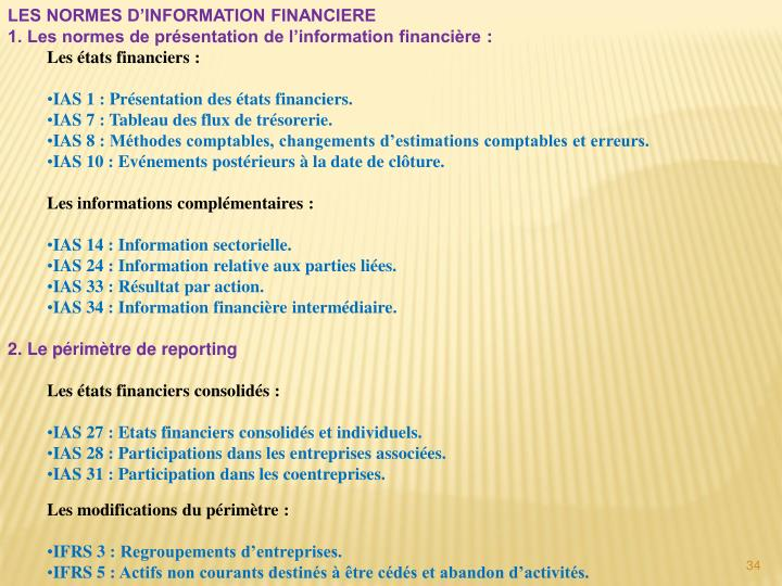 LES NORMES D'INFORMATION FINANCIERE