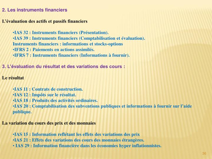 2. Les instruments financiers