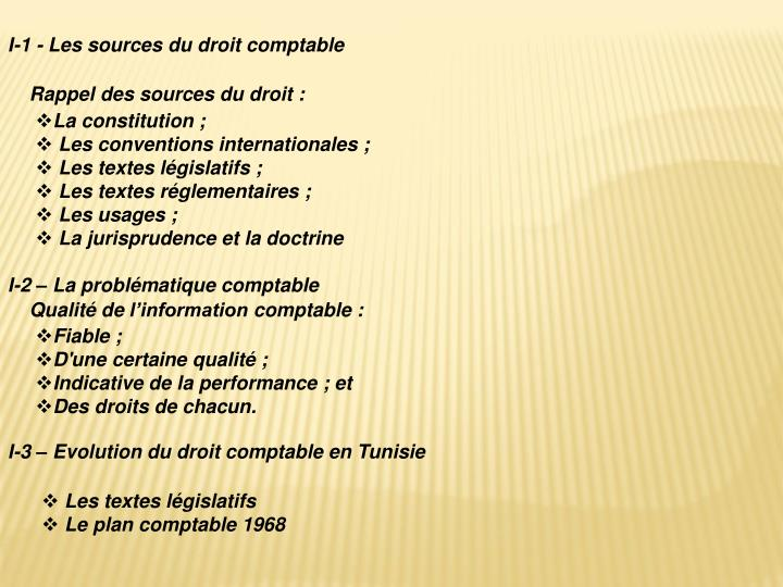 I-1 - Les sources du droit comptable