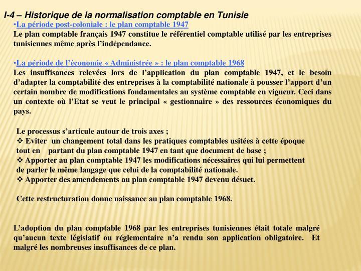 I-4 – Historique de la normalisation comptable en Tunisie