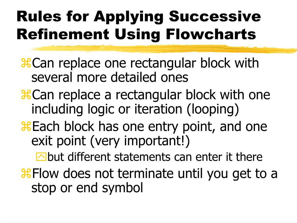 Rules for Applying Successive Refinement Using Flowcharts