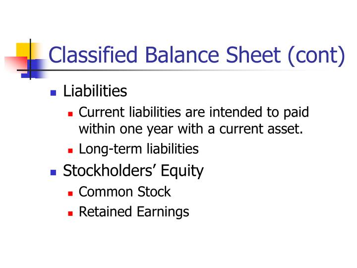 Classified Balance Sheet (cont)
